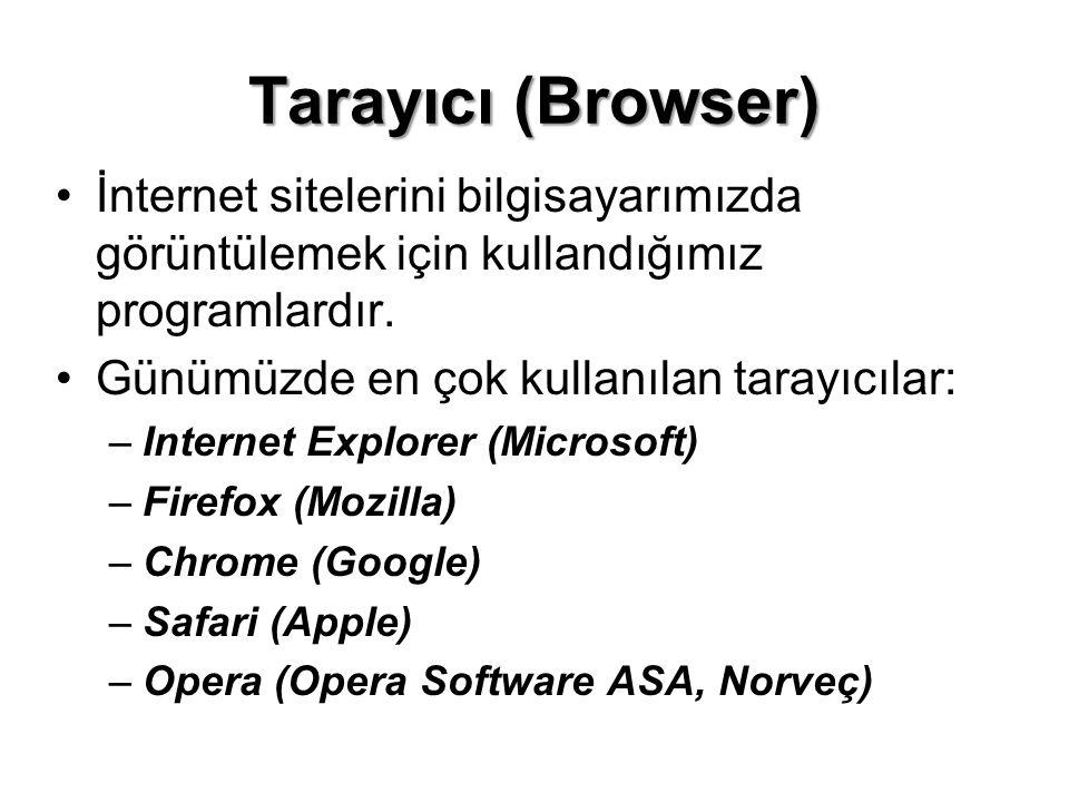 Tarayıcı (Browser) İnternet sitelerini bilgisayarımızda görüntülemek için kullandığımız programlardır.