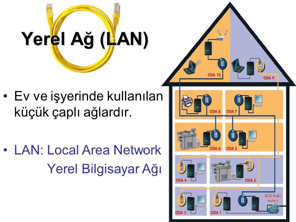 Yerel Ağ (LAN) Ev ve işyerinde kullanılan küçük çaplı ağlardır.