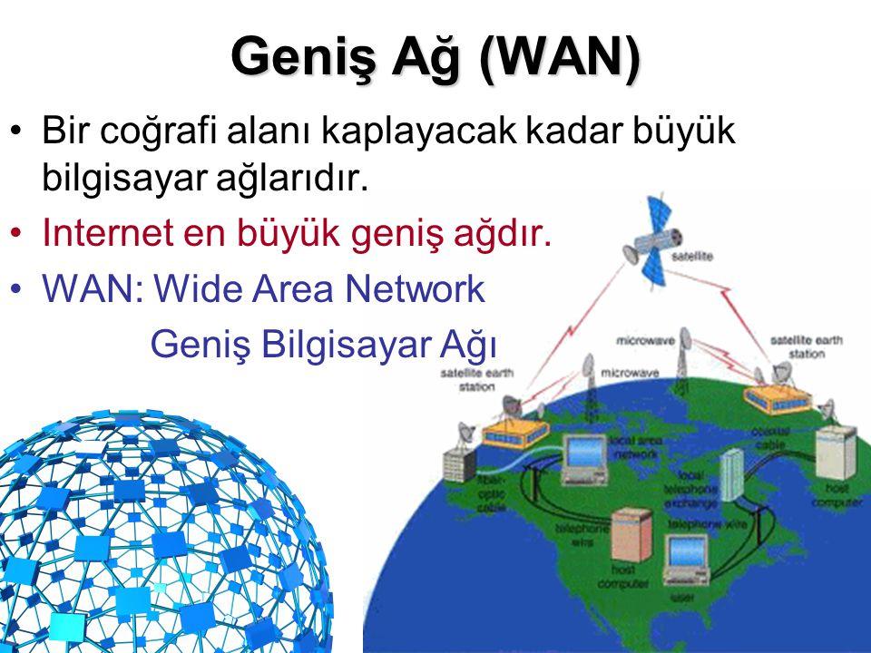 Geniş Ağ (WAN) Bir coğrafi alanı kaplayacak kadar büyük bilgisayar ağlarıdır. Internet en büyük geniş ağdır.