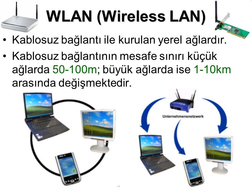 WLAN (Wireless LAN) Kablosuz bağlantı ile kurulan yerel ağlardır.