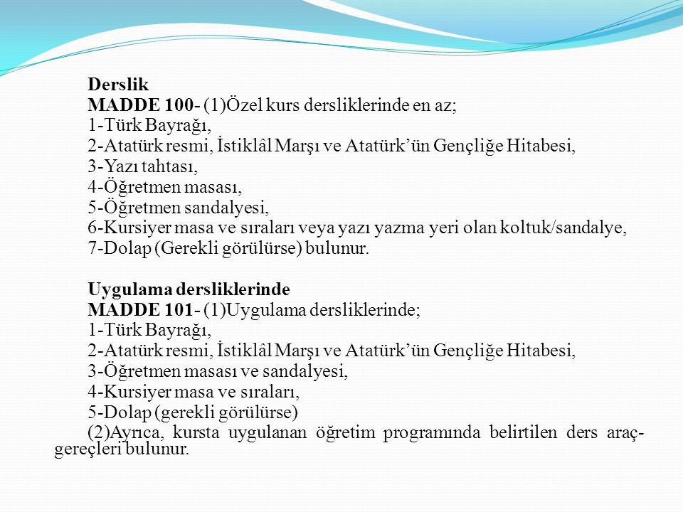 Derslik MADDE 100- (1)Özel kurs dersliklerinde en az; 1-Türk Bayrağı, 2-Atatürk resmi, İstiklâl Marşı ve Atatürk'ün Gençliğe Hitabesi,