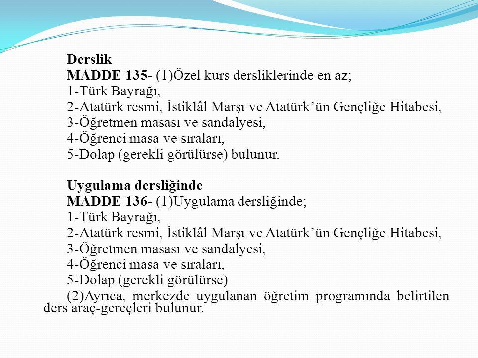 Derslik MADDE 135- (1)Özel kurs dersliklerinde en az; 1-Türk Bayrağı, 2-Atatürk resmi, İstiklâl Marşı ve Atatürk'ün Gençliğe Hitabesi,
