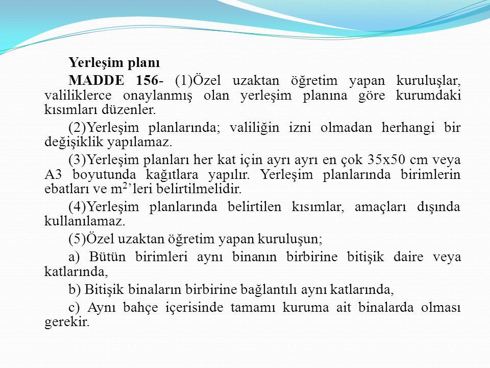 Yerleşim planı MADDE 156- (1)Özel uzaktan öğretim yapan kuruluşlar, valiliklerce onaylanmış olan yerleşim planına göre kurumdaki kısımları düzenler.