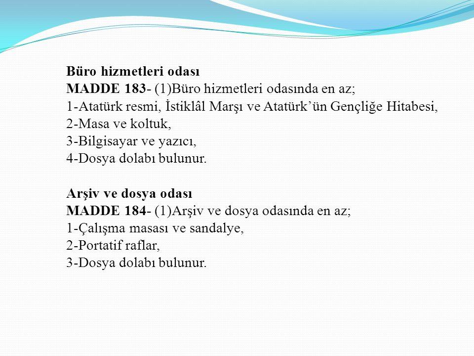 Büro hizmetleri odası MADDE 183- (1)Büro hizmetleri odasında en az; 1-Atatürk resmi, İstiklâl Marşı ve Atatürk'ün Gençliğe Hitabesi,