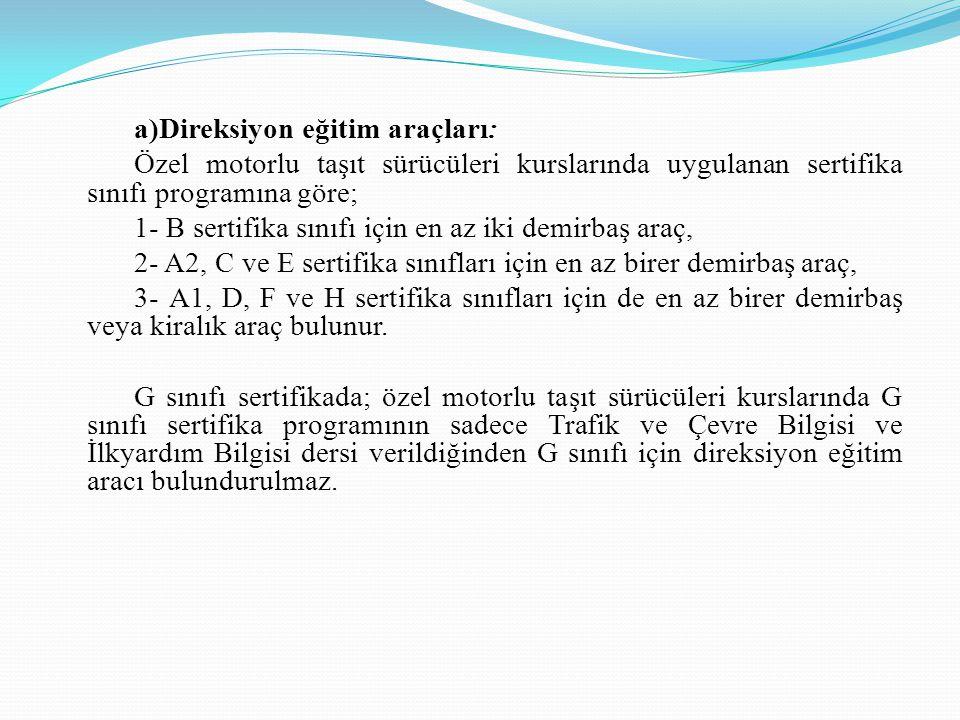 a)Direksiyon eğitim araçları: