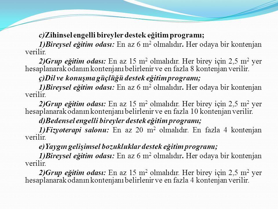 c)Zihinsel engelli bireyler destek eğitim programı; 1)Bireysel eğitim odası: En az 6 m2 olmalıdır.