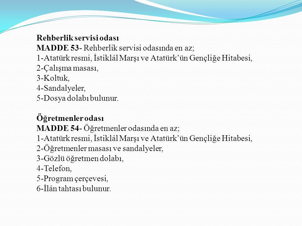 Rehberlik servisi odası MADDE 53- Rehberlik servisi odasında en az; 1-Atatürk resmi, İstiklâl Marşı ve Atatürk'ün Gençliğe Hitabesi, 2-Çalışma masası, 3-Koltuk, 4-Sandalyeler, 5-Dosya dolabı bulunur.