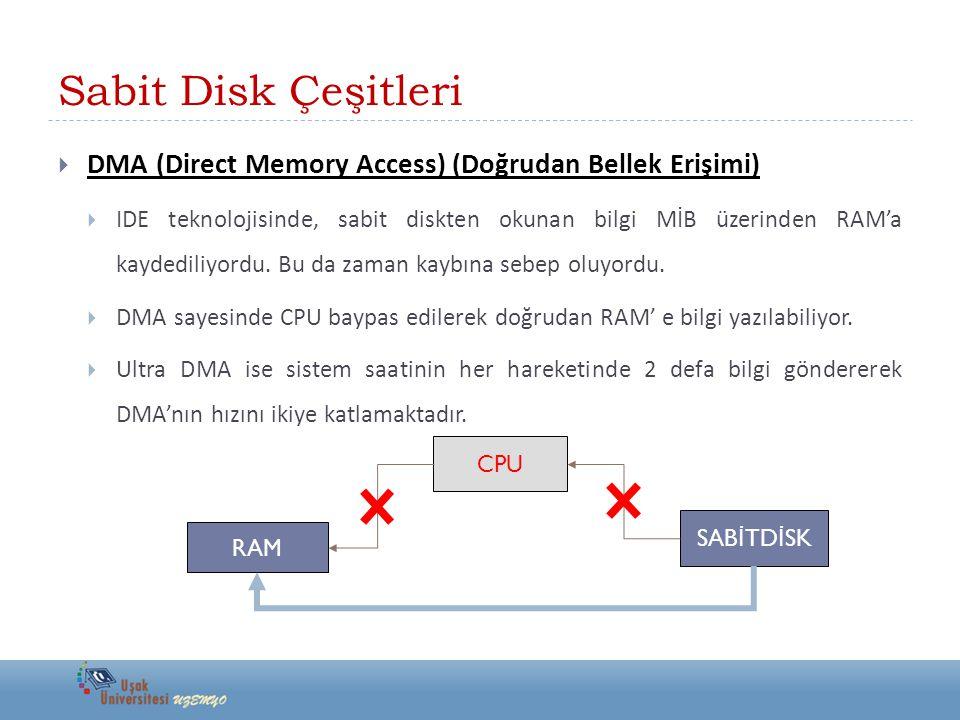 Sabit Disk Çeşitleri DMA (Direct Memory Access) (Doğrudan Bellek Erişimi)