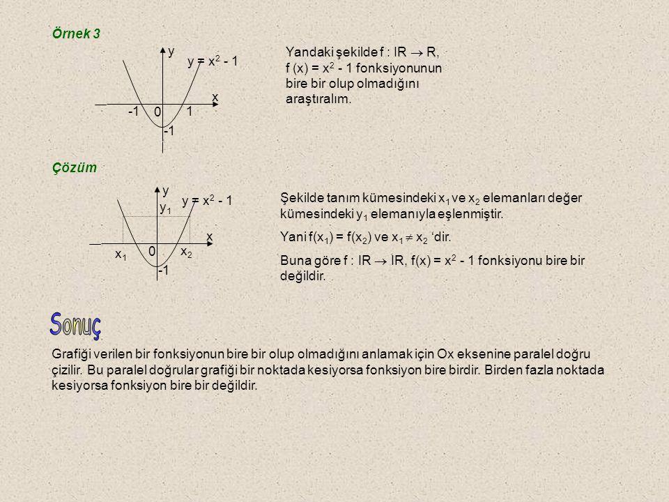 Örnek 3 -1. 1. x. y. y = x2 - 1. Yandaki şekilde f : IR  R, f (x) = x2 - 1 fonksiyonunun bire bir olup olmadığını araştıralım.