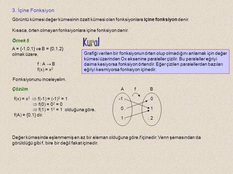 3. İçine Fonksiyon Görüntü kümesi değer kümesinin özalt kümesi olan fonksiyonlara içine fonksiyon denir.