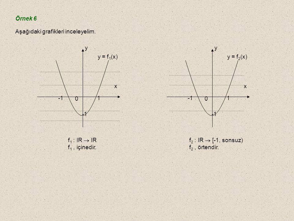 Örnek 6 Aşağıdaki grafikleri inceleyelim. -1. 1. x. y. y = f1(x) f1 : IR  IR. f1 , içinedir.