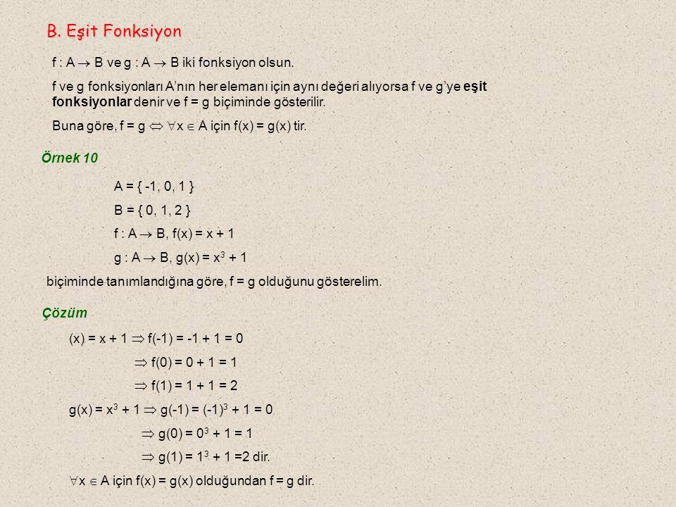 B. Eşit Fonksiyon f : A  B ve g : A  B iki fonksiyon olsun.