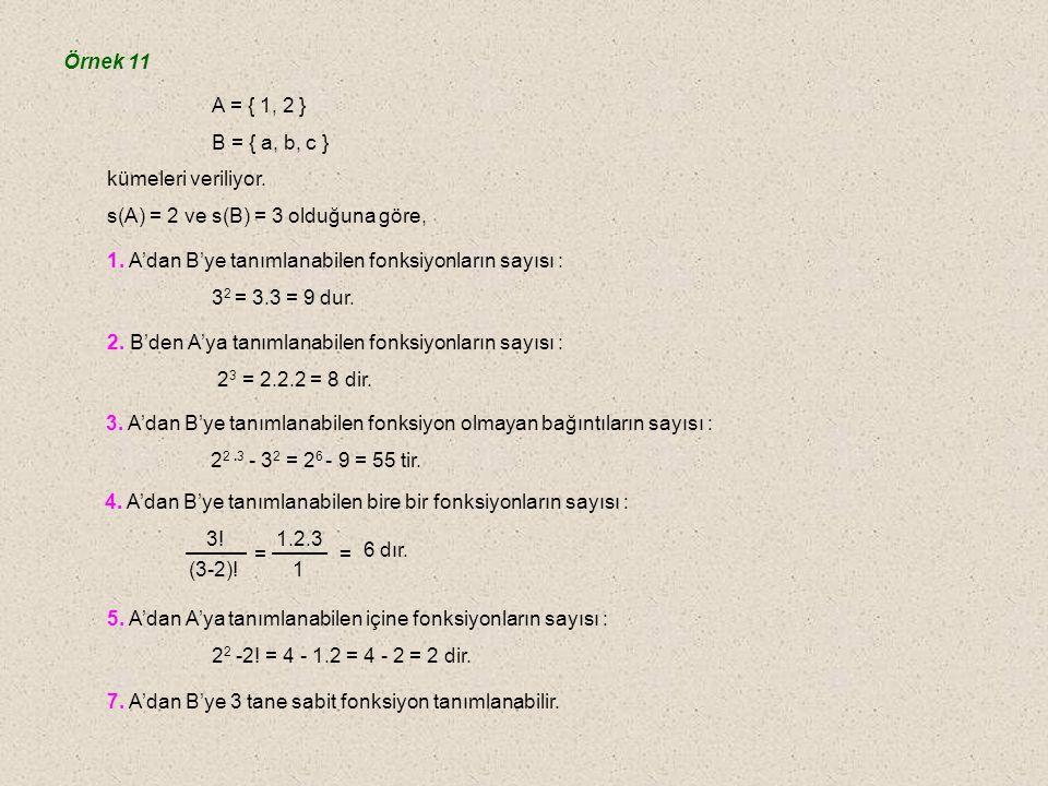 Örnek 11 A = { 1, 2 } B = { a, b, c } kümeleri veriliyor. s(A) = 2 ve s(B) = 3 olduğuna göre,