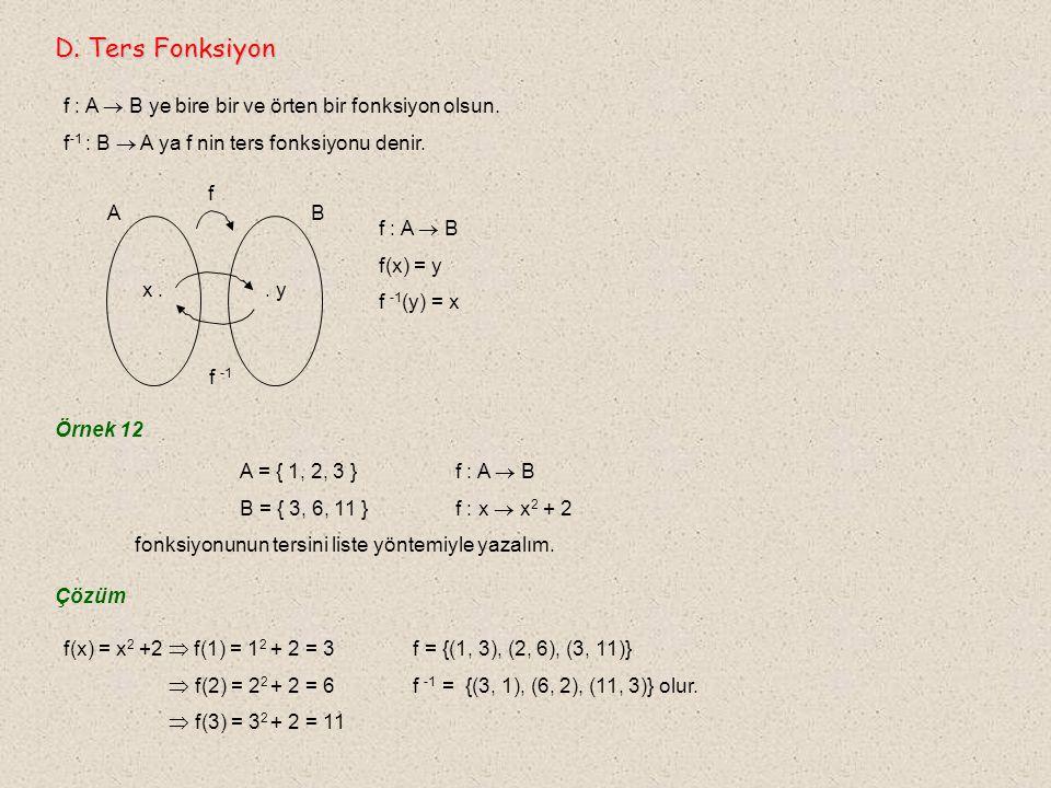 D. Ters Fonksiyon f : A  B ye bire bir ve örten bir fonksiyon olsun.