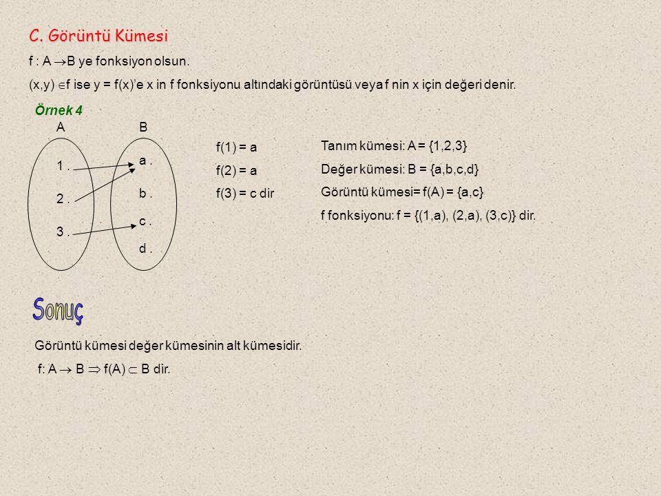 Sonuç C. Görüntü Kümesi f : A B ye fonksiyon olsun.