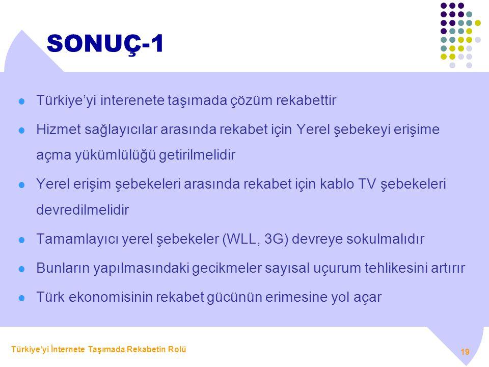 SONUÇ-1 Türkiye'yi interenete taşımada çözüm rekabettir