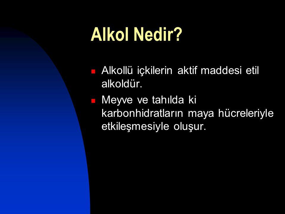 Alkol Nedir Alkollü içkilerin aktif maddesi etil alkoldür.