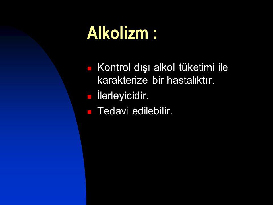Alkolizm : Kontrol dışı alkol tüketimi ile karakterize bir hastalıktır.