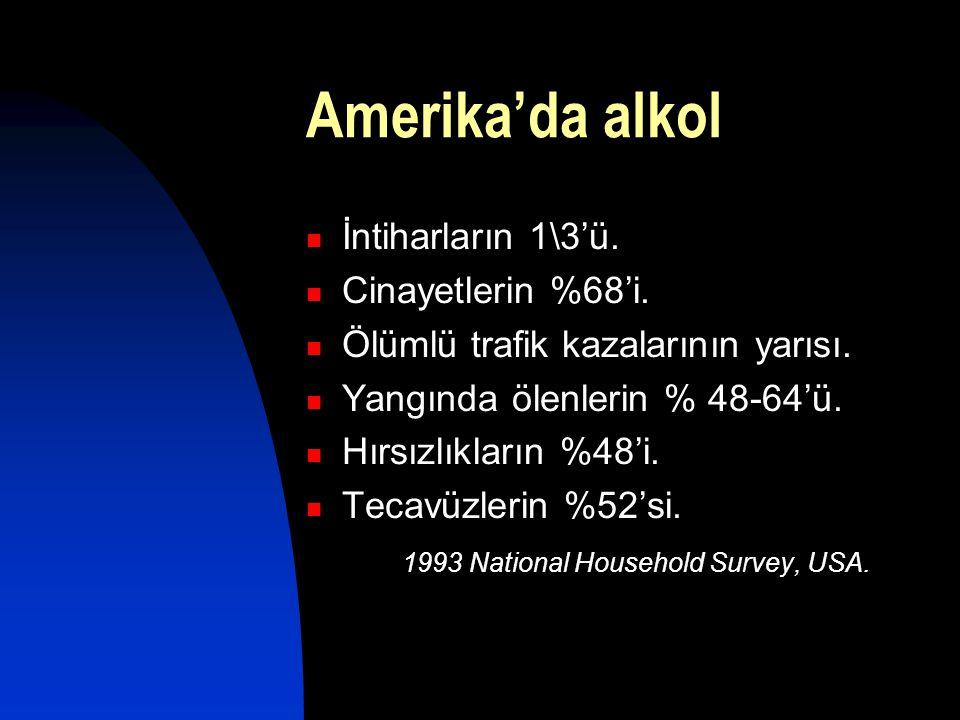 Amerika'da alkol İntiharların 1\3'ü. Cinayetlerin %68'i.
