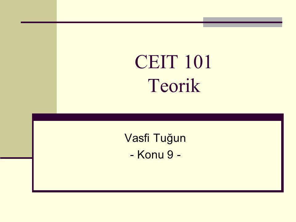 CEIT 101 Teorik Vasfi Tuğun - Konu 9 -