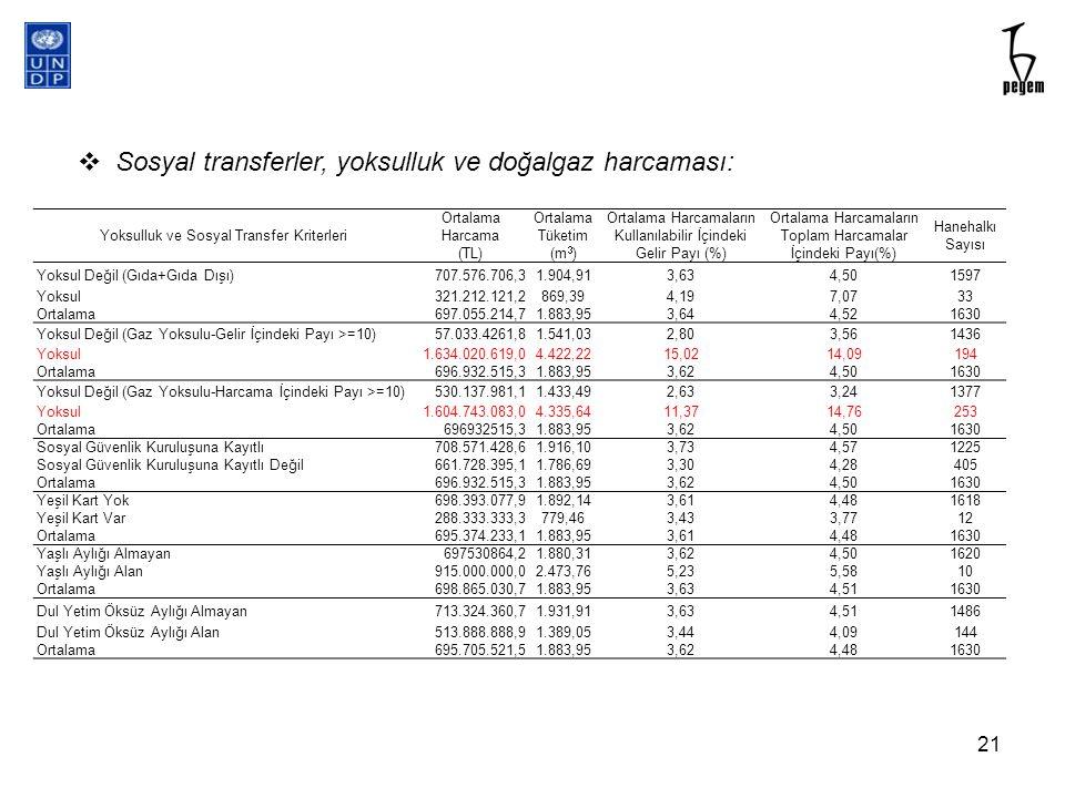 Sosyal transferler, yoksulluk ve doğalgaz harcaması: