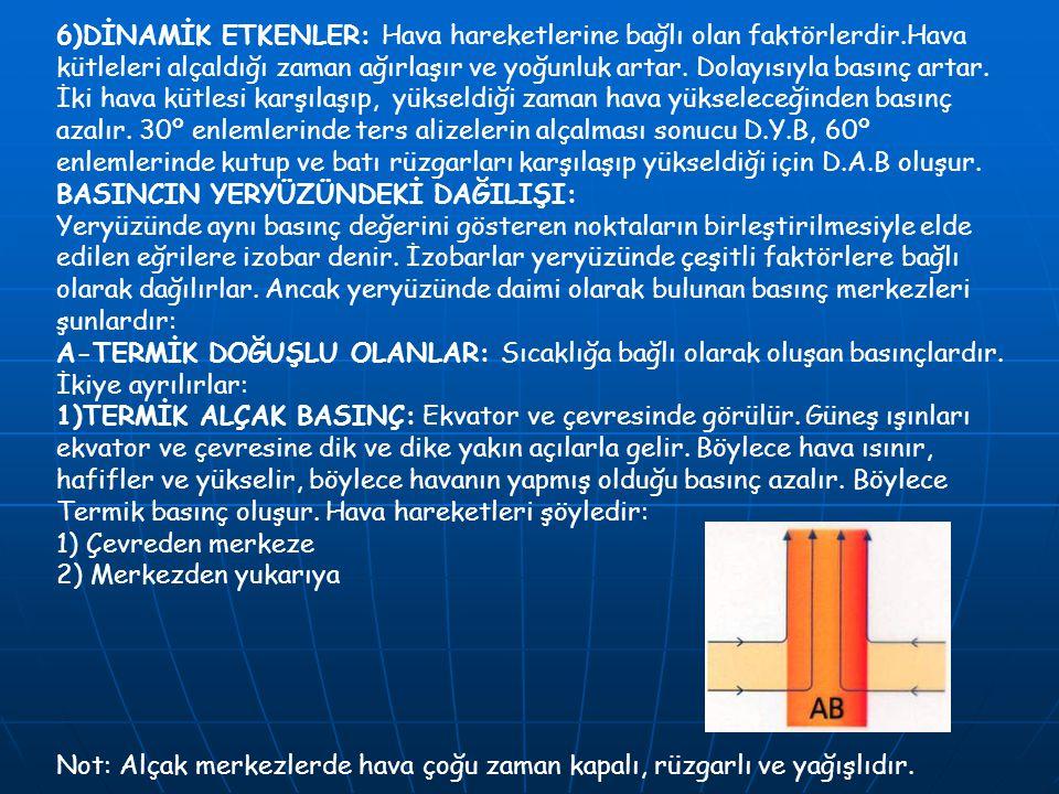 6)DİNAMİK ETKENLER: Hava hareketlerine bağlı olan faktörlerdir