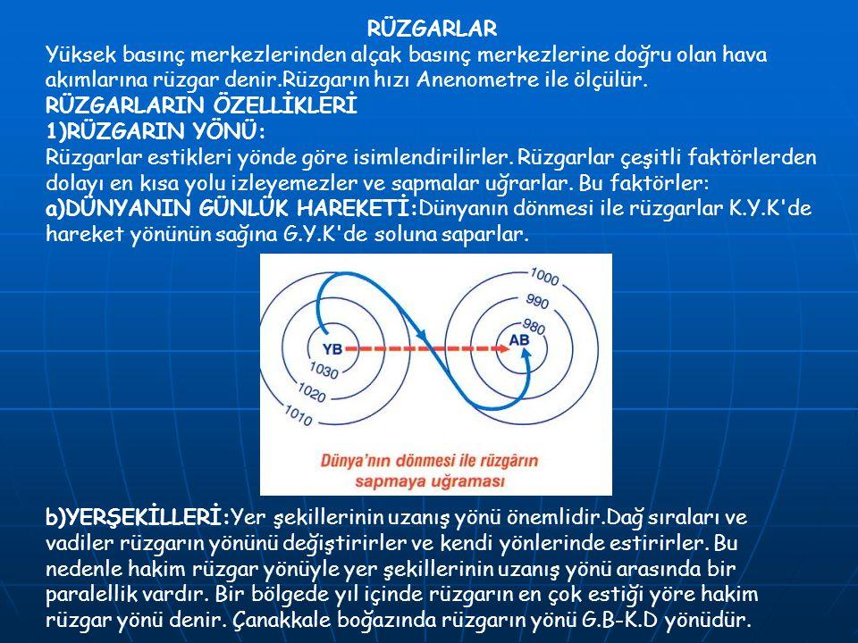 RÜZGARLAR Yüksek basınç merkezlerinden alçak basınç merkezlerine doğru olan hava akımlarına rüzgar denir.Rüzgarın hızı Anenometre ile ölçülür.