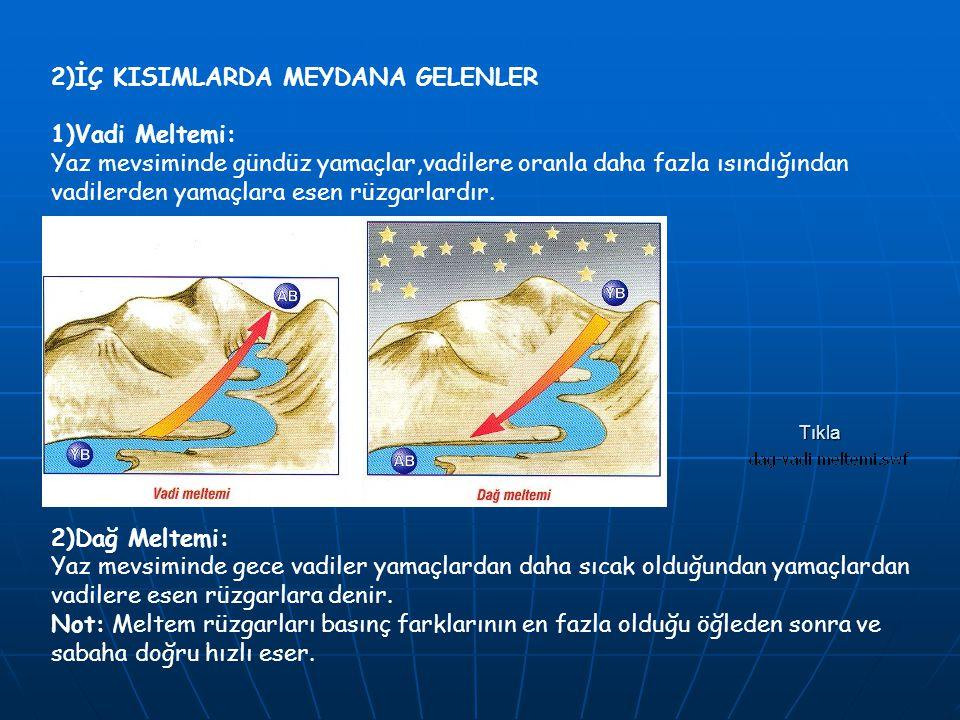 2)İÇ KISIMLARDA MEYDANA GELENLER 1)Vadi Meltemi: