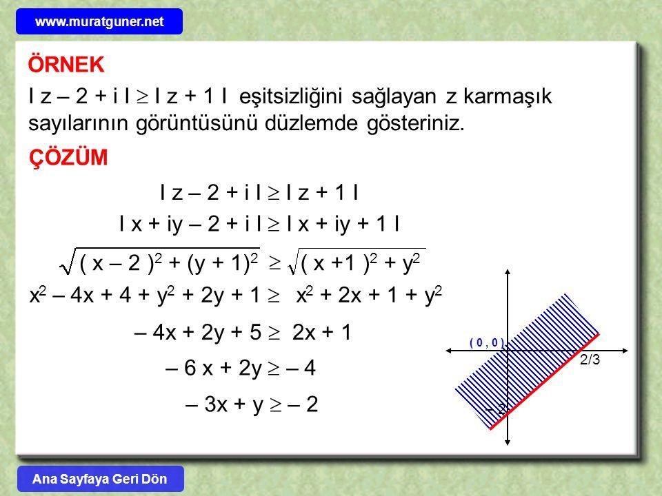 www.muratguner.net ÖRNEK. I z – 2 + i I  I z + 1 I eşitsizliğini sağlayan z karmaşık sayılarının görüntüsünü düzlemde gösteriniz.