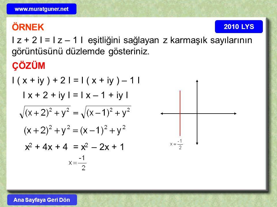 www.muratguner.net ÖRNEK. 2010 LYS. I z + 2 I = I z – 1 I eşitliğini sağlayan z karmaşık sayılarının görüntüsünü düzlemde gösteriniz.