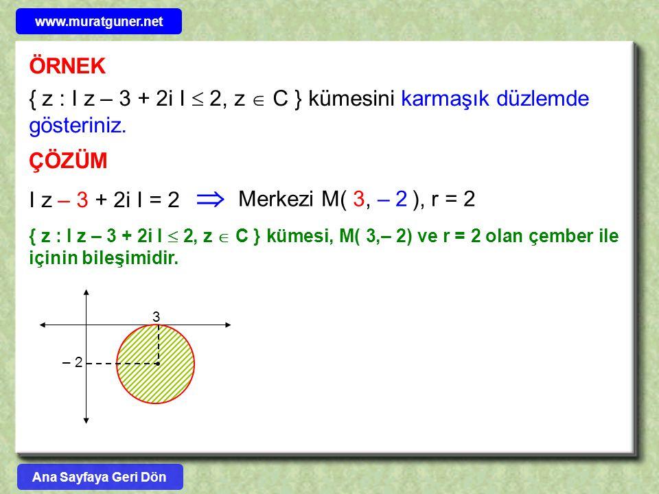 www.muratguner.net ÖRNEK. { z : I z – 3 + 2i I  2, z  C } kümesini karmaşık düzlemde gösteriniz.