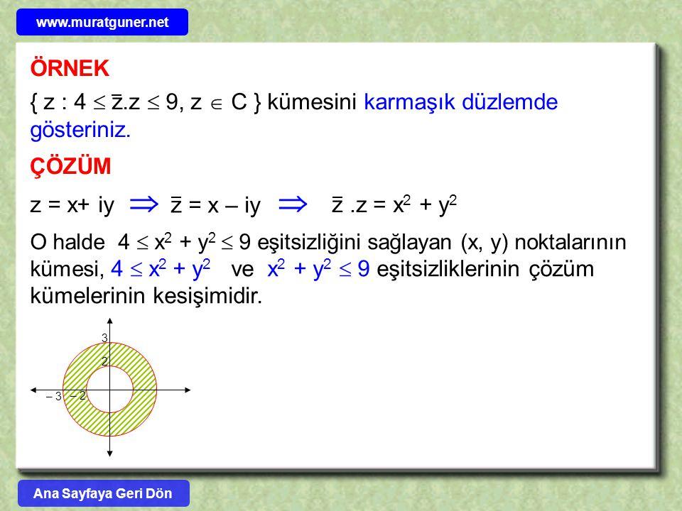 www.muratguner.net ÖRNEK. { z : 4  z.z  9, z  C } kümesini karmaşık düzlemde gösteriniz. ÇÖZÜM.