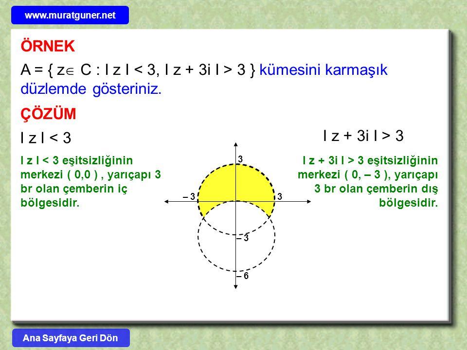 www.muratguner.net ÖRNEK. A = { z C : I z I < 3, I z + 3i I > 3 } kümesini karmaşık düzlemde gösteriniz.