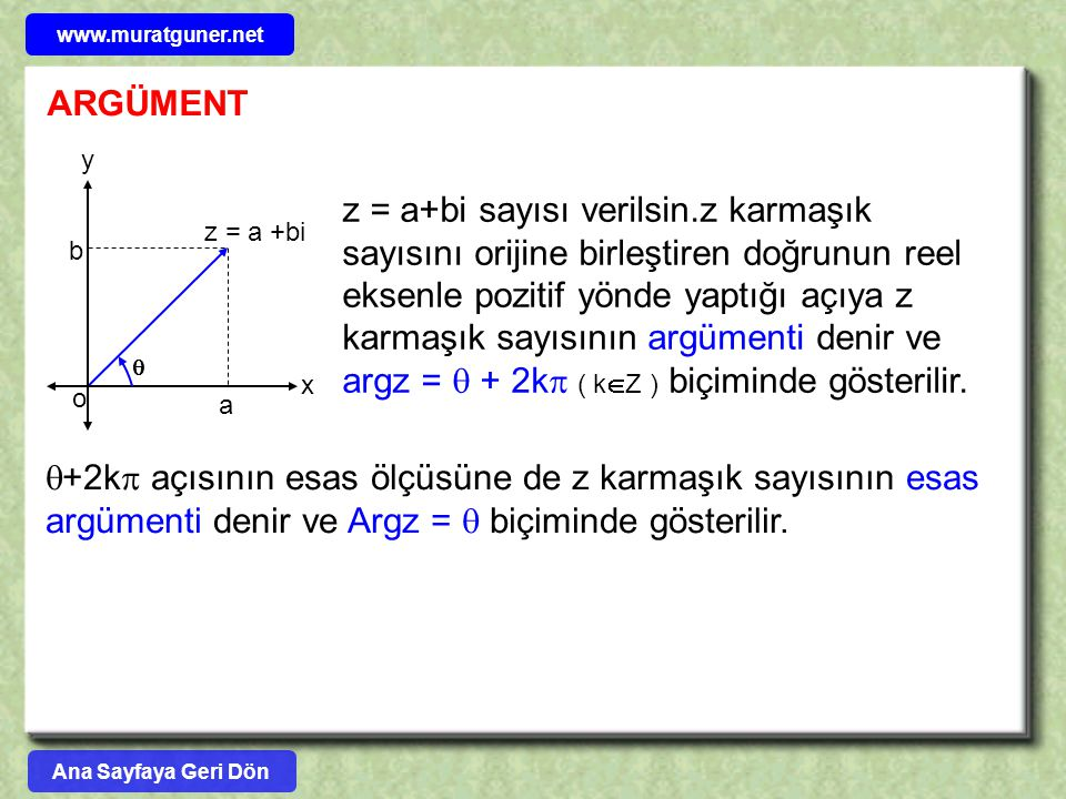 www.muratguner.net ARGÜMENT. x. y. z = a +bi. o. a. b. 