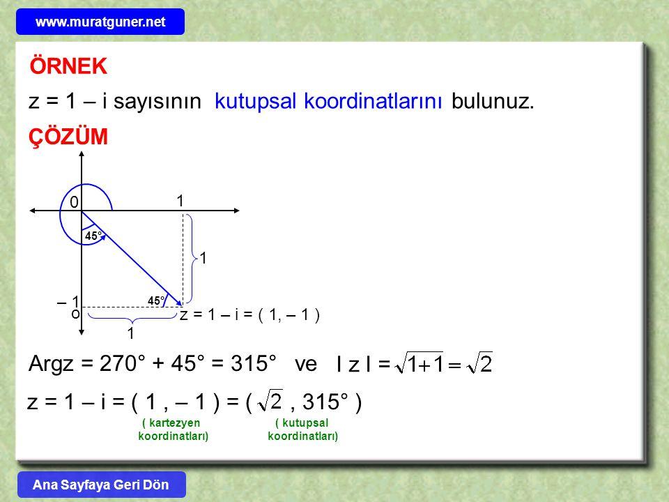 z = 1 – i sayısının kutupsal koordinatlarını bulunuz.