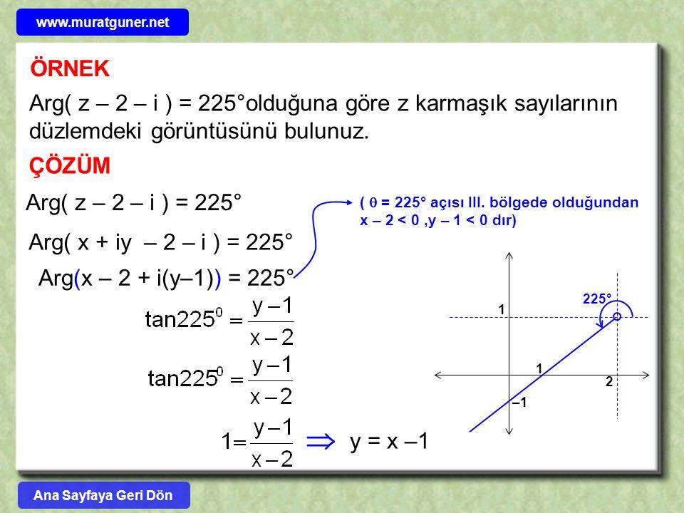  ÖRNEK Arg( z – 2 – i ) = 225°olduğuna göre z karmaşık sayılarının