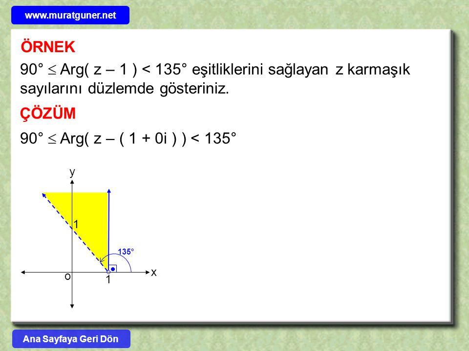 www.muratguner.net ÖRNEK. 90°  Arg( z – 1 ) < 135° eşitliklerini sağlayan z karmaşık sayılarını düzlemde gösteriniz.