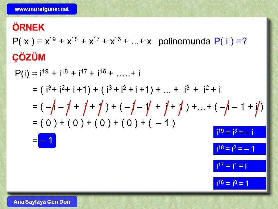 P( x ) = x19 + x18 + x17 + x16 + ...+ x polinomunda P( i ) =