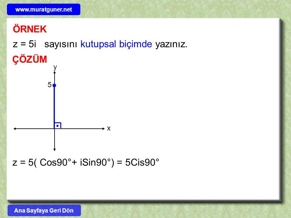 z = 5i sayısını kutupsal biçimde yazınız.