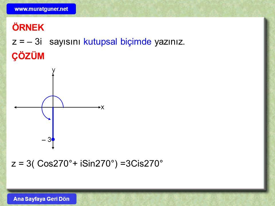 z = – 3i sayısını kutupsal biçimde yazınız.