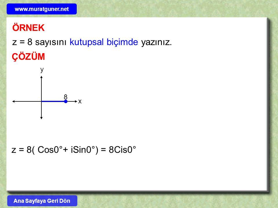 z = 8 sayısını kutupsal biçimde yazınız.