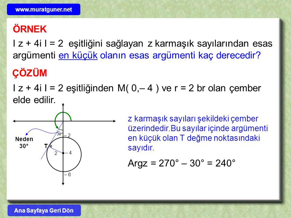www.muratguner.net ÖRNEK. I z + 4i I = 2 eşitliğini sağlayan z karmaşık sayılarından esas argümenti en küçük olanın esas argümenti kaç derecedir