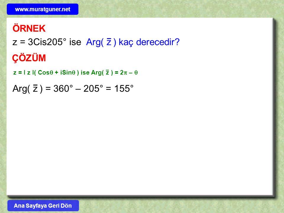 z = 3Cis205° ise Arg( z ) kaç derecedir
