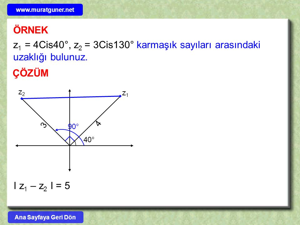 www.muratguner.net ÖRNEK. z1 = 4Cis40°, z2 = 3Cis130° karmaşık sayıları arasındaki uzaklığı bulunuz.