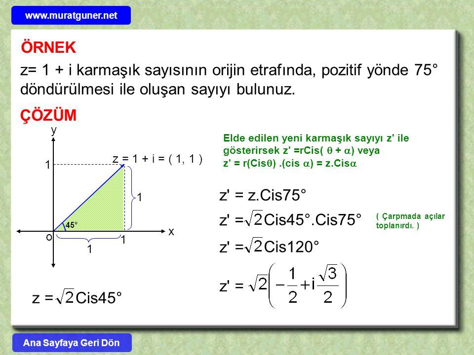 www.muratguner.net ÖRNEK. z= 1 + i karmaşık sayısının orijin etrafında, pozitif yönde 75° döndürülmesi ile oluşan sayıyı bulunuz.