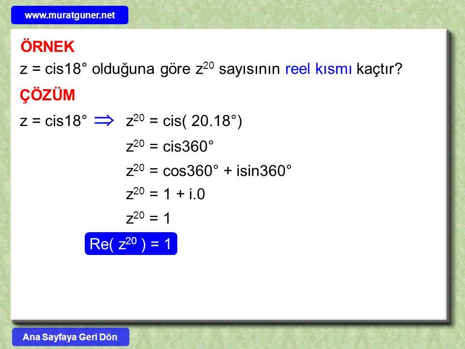  ÖRNEK z = cis18° olduğuna göre z20 sayısının reel kısmı kaçtır