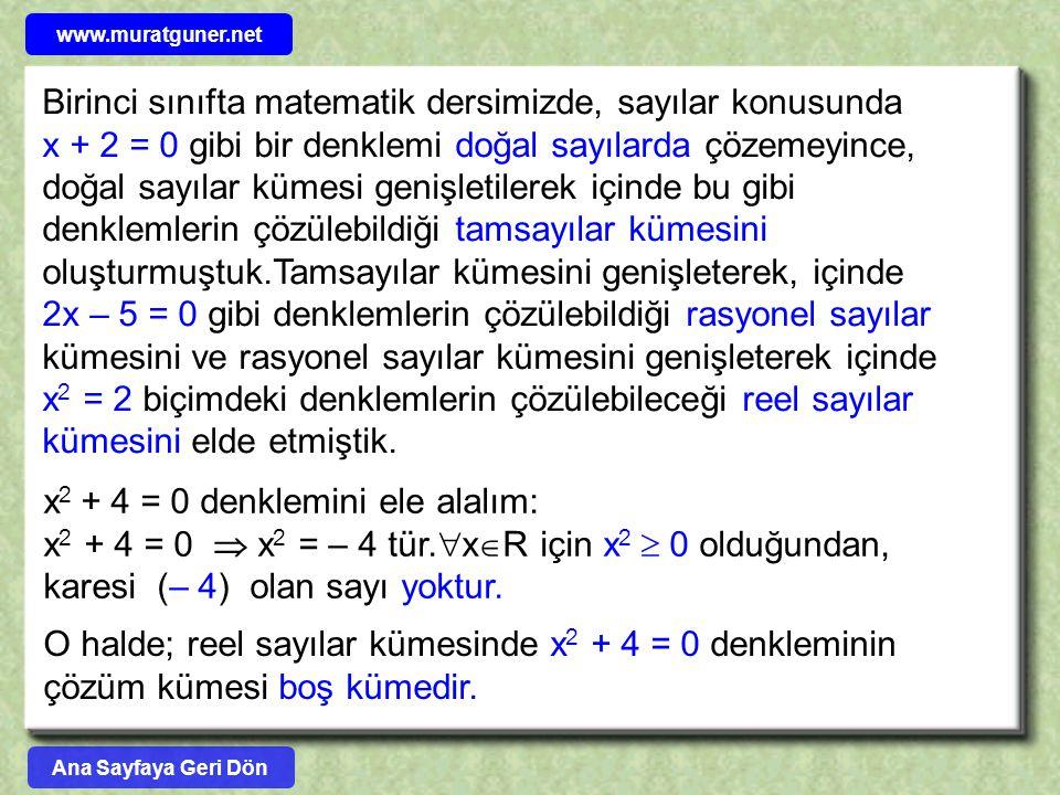 x2 + 4 = 0 denklemini ele alalım: