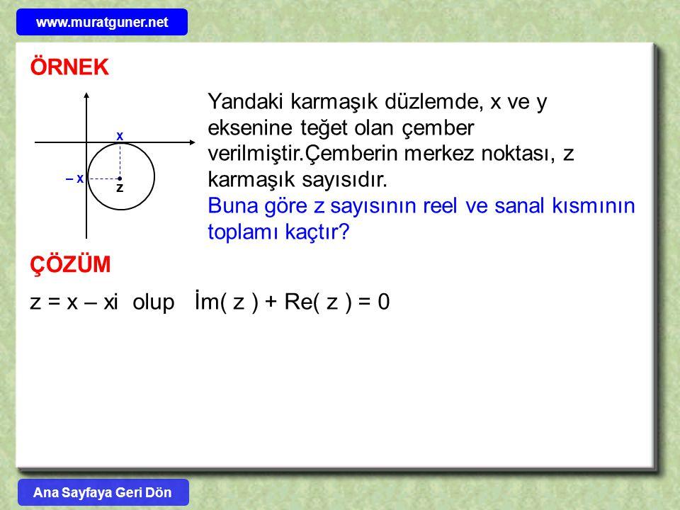 z = x – xi olup İm( z ) + Re( z ) = 0