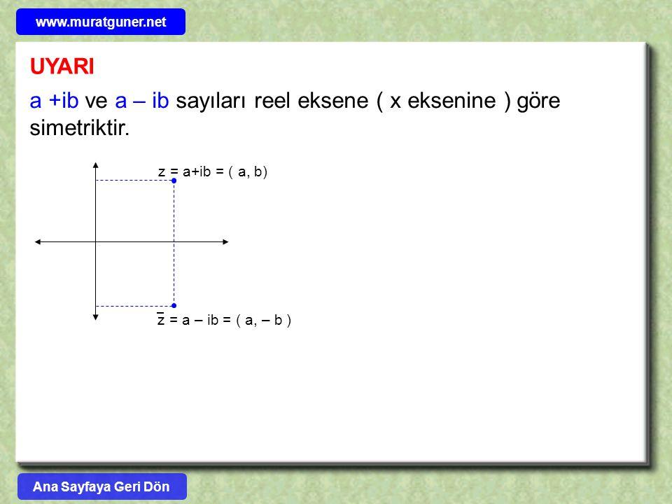 a +ib ve a – ib sayıları reel eksene ( x eksenine ) göre simetriktir.