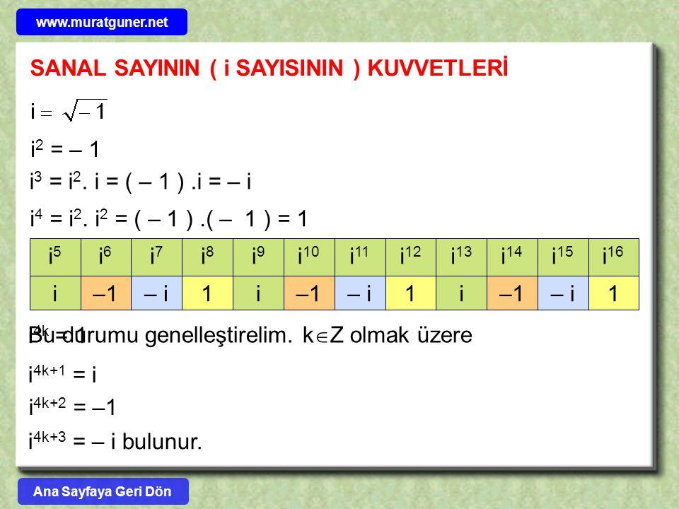 SANAL SAYININ ( i SAYISININ ) KUVVETLERİ